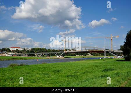 Forest small castle bridge, bridge building in Dresden, Waldschloesschenbruecke, Brueckenbau in Dresden - Stock Photo