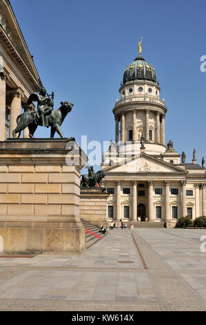 French cathedral in the Berlin gendarme's market, , Franzoesischer Dom am Berliner Gendarmenmarkt - Stock Photo