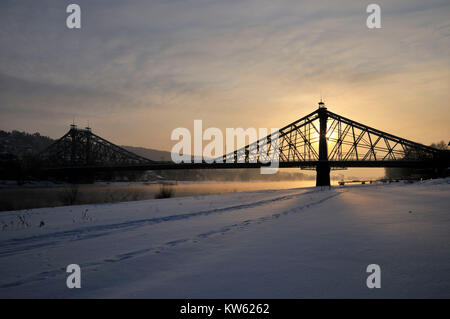Loschwitzer bridge, nasty surprise, Dresden, Loschwitzer Bruecke, Blaues Wunder - Stock Photo