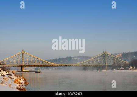 Loschwitzer bridge, nasty surprise, Dresden, Loschwitzer Bruecke, Blaues Wunder - Stock Photo