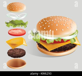 Hamburger and it's parts vector illustration with white background - sesame bun, beef steak, cheese, tomato, onion, - Stock Photo