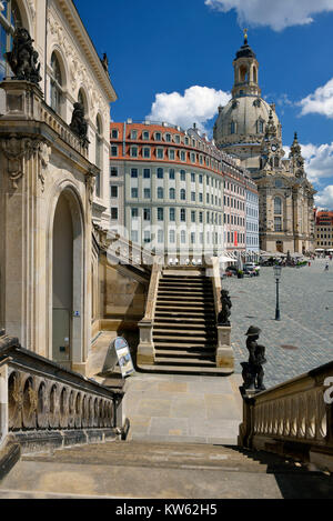 Dresden, Church of Our Lady in the view of the Johanneum, Frauenkirche in der Ansicht vom Johanneum - Stock Photo