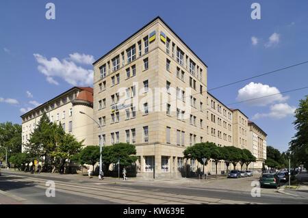 Dresden, Holbeinstrasse, German pension scheme, Deutsche Rentenversicherung - Stock Photo