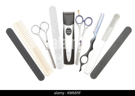 Professional hairdressing, manicure and pedicure tools. Comb, clip, file, scissor, clippers, tweezer and hair trimmer - Stock Photo