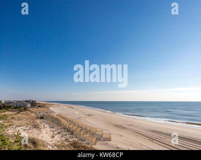 beach fencing on a atlantic beach in the hamptons - Stock Photo