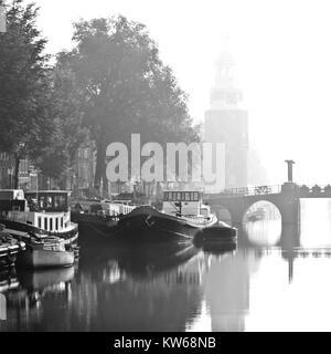 Classic Amsterdam, canal and boats. - Stock Photo