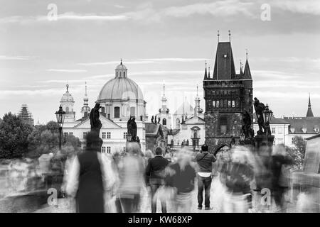 View of Charles bridge on the Vltava river and historical center of Prague,buildings and landmarks of old town,Prague,Czech - Stock Photo