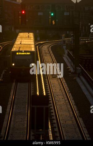 A S-Bahn train runs through the evening light to its destination, Berlin 2017. - Stock Photo