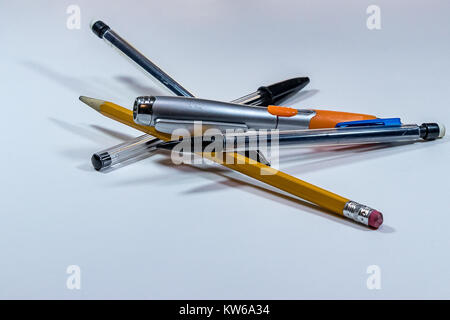 pile of pens and pencils - Stock Photo