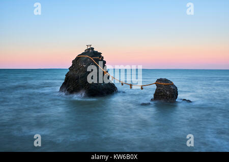 Japan, Honshu island, Ise Shima, Mie region, Futami, Meoto-Iwa (Wedded Rocks), two rocks considered to be male and - Stock Photo