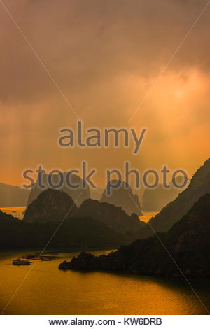 High angle view of Halong Bay from Ti Top Island, North Vietnam. The bay features 3,000  limestone and dolomite - Stock Photo