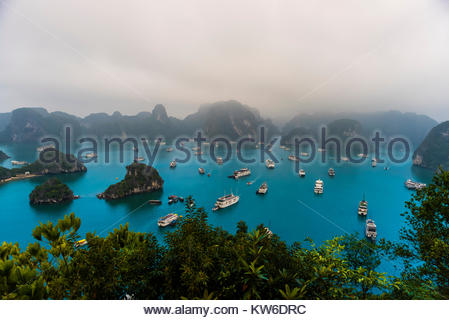 High angle view of Halong Bay from Ti Top Island, North Vietnam filled with tour boats. The bay features 3,000  - Stock Photo