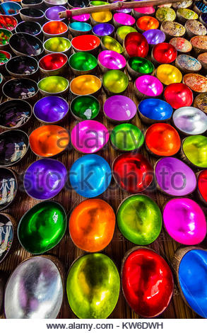 Colorful Vietnamese lacquer coconut shell bowls,  Sunday market at Ba Ha, northern Vietnam. Every Sunday ethnic - Stock Photo