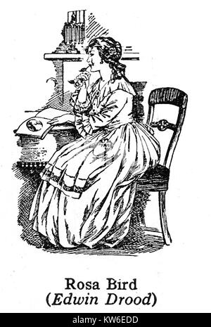 Charles Dickens  1812 to 1870 - Dickens characters -1930's illustration - Rosa Bird from 'The Mystery of Edwin Drood' - Stock Photo