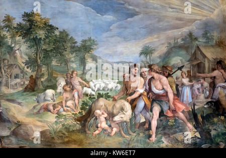 Finding of the She-Wolf by Cavalier d'Arpino (Giuseppe Cesari: 1568-1640), a 1596 fresco in the Hall of the Horatii - Stock Photo