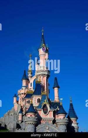 Sleeping Beauty Castle Le Château de la Belle au Bois Dormant at DisneyLand Paris EuroDisney. Fantasyland. Space - Stock Photo