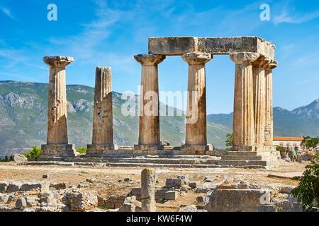 The Temple of Apollo, ancient Corinth, Greece - Stock Photo