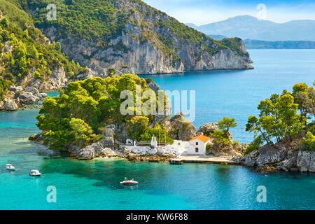 Small chapel at Panagias Island, Parga, Greece - Stock Photo