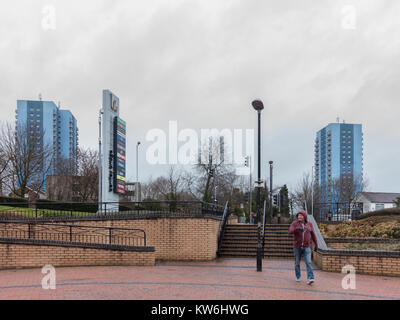 The view looking across from the Bentley Bridge Retail Park towards Wodensfield Towers and William Bentley Court - Stock Photo