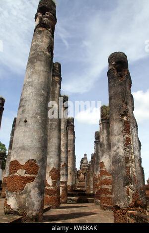 Big brick columns in wat Mahathat, Sukhotai, Thailand - Stock Photo