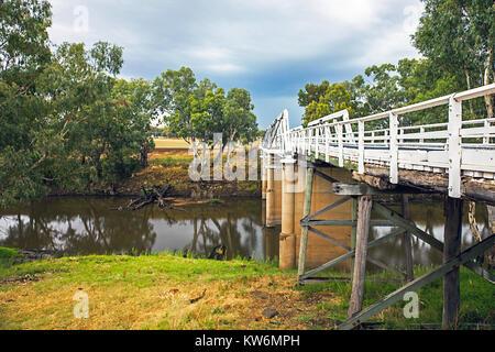 Rawsonville Bridge over the Macquarie River near Dubbo Australia - Stock Photo