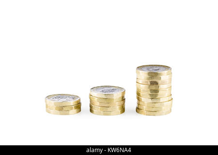 Piles of uk sterling pound coins - Stock Photo