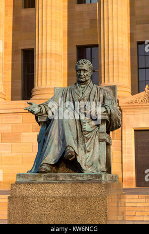 Statue of Chief Justice John Marshall in front of the north facade of the Philadelphia Museum of Art, Philadelphia, - Stock Photo