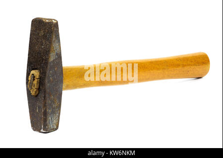 Old rusty hammer isolated on white background with clipping path - Stock Photo