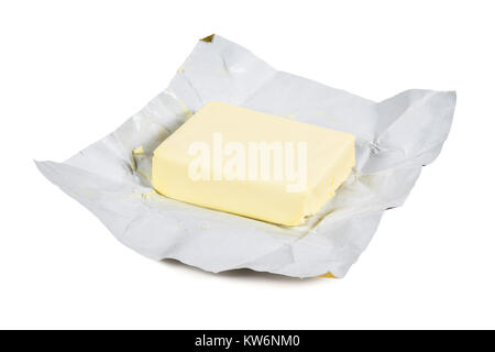 Piece of fresh butter isolated on white background with clipping path - Stock Photo
