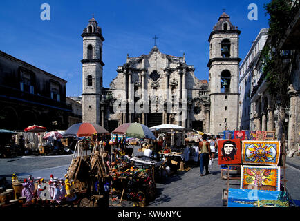 Market at Plaza de la Cathedral, Havanna, Cuba - Stock Photo