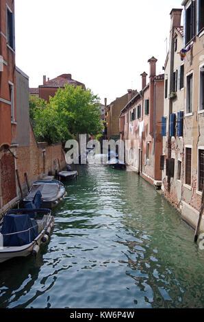 View westwards, from Ponte de la Cazziola on the Rio (canal) de la Cazziola Venice, Italy, - Stock Photo