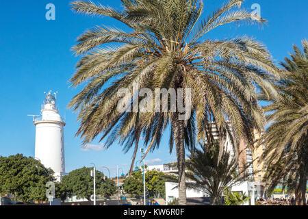 Malaga lighthouse, La Farola, Spain - Stock Photo