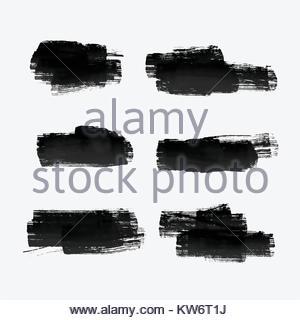 six grunge paint stroke set - Stock Photo