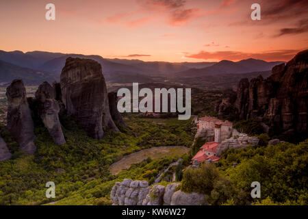 This is the most spectacular place in Greece. The huge rock formations at Meteora, Greece are incredible, and even - Stock Photo