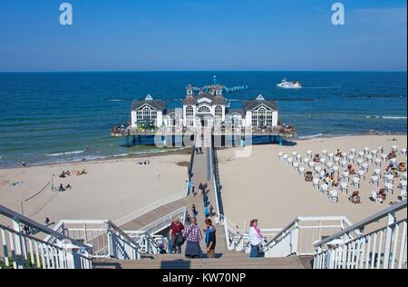 Pier and beach of Sellin, spa style on Ruegen island, Mecklenburg-Western Pomerania, Baltic Sea, Germany, Europe - Stock Photo