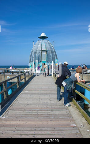 Dive bell at the end of the pier, Sellin, Ruegen island, Mecklenburg-Western Pomerania, Baltic Sea, Germany, Europe - Stock Photo