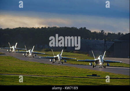 Swiss Air Force McDonnel Douglas F18C/A Hornets Fast Twin Engined Jet Fighter Aircraft.on 4 week pilot training - Stock Photo
