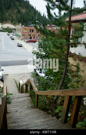View down wooden stair to Wallace historic district, Idaho, USA - Stock Photo