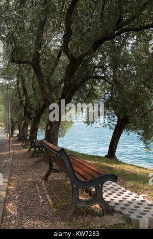 A row of benches in the shade by Lake Iseo in Italy - Stock Photo