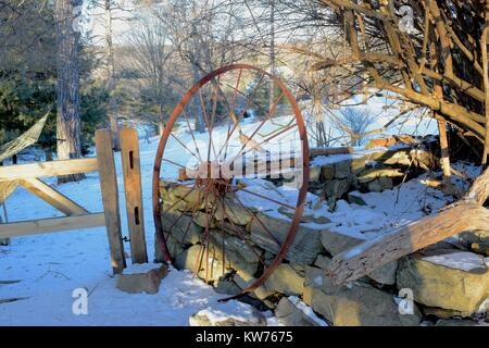 Vintage large iron wheel by the wooden gates and trees on the background in winter. - Stock Photo