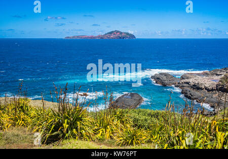 Norfolk Island, Australian external territory, view of Phillip Island from Point Ross - Stock Photo