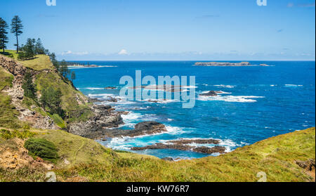 Norfolk Island, Australian external territory, cliffs and coastline at Point Ross - Stock Photo