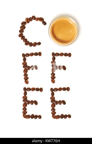 Top view of word coffee made from coffee beans and glass cup of hot coffee - Stock Photo