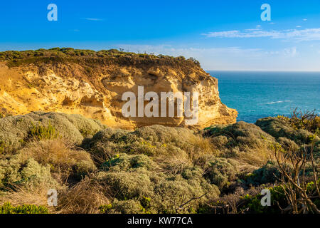 A limestone cliff near the Loch Ard Gorge along the Great Ocean Road, Australia. - Stock Photo