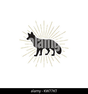 Hand drawn Fox Silhouette illustration. Vintage Black fox with sunbursts isolated on white background. Good for - Stock Photo