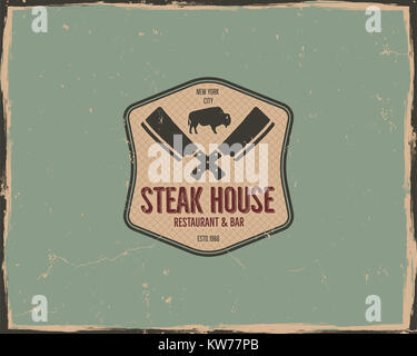 Steak house poster or logo design. Bar and grill logotype, emblem. Food label in retro colors style. Stock badge. - Stock Photo