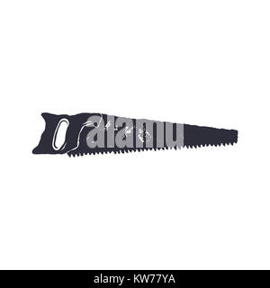 monochrome saw shape, icon. Vintage hand drawn design. Stock isolated on white background. - Stock Photo