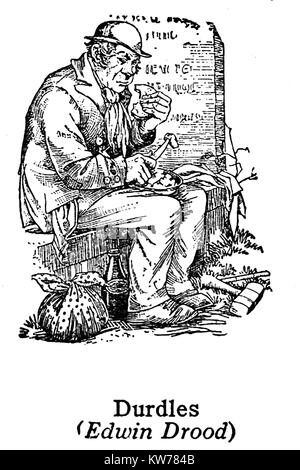 Charles Dickens 1812 to 1870 -Dickens characters -1930's illustration - Durdles from 'The Mystery of Edwin Drood' - Stock Photo