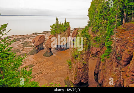 Hopewell Rocks in New Brunswick at Low Tide - Stock Photo