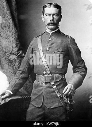 Kitchener, 1885 portrait photograph by Bassano of the English soldier, General and Field Marshall, later ennobled - Stock Photo